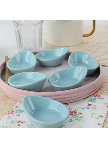Keramika Keramika Mini Gondol Açık Turkuaz Çerezlik / Sosluk 8 Cm 6 Adet Renkli